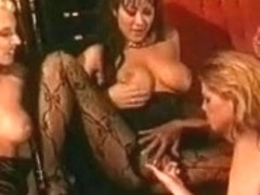 Four hawt sexually excited pornstar honeys in heels and nylons fingering every other's vagina
