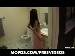 Japanese cutie is caught in the shower and screwed on tape