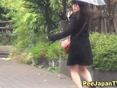 Asian ### chick pisses outside