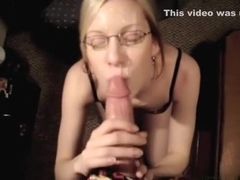 Golden-Haired orall-service-job large white rod and takes large load of dick juice on face