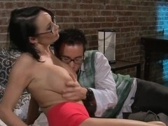 Sexy big titted doctor Alektra Blue gives it to one lucky guy