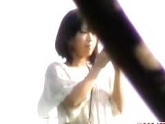 Butt stretching video of attractive Japanese bimbo getting pulled in sharking action