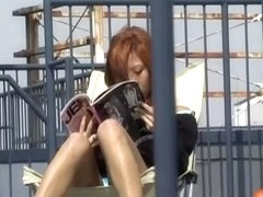Public nudity with stunning red-hot Japanese slut receiving sharking gift