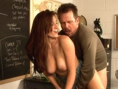 Busty brunette nailed in the classroom