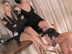 Femdom girl shows off her slave to a friend
