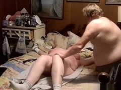 Fat redneck milf gets tied up naked on the bed and whipped by her husband