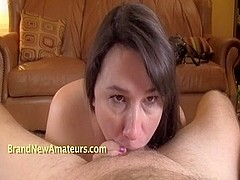 Non-Professional Nancy licks wazoo and sucks out two loads
