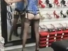 Teeny Girl in Corset Stockings and High Heels