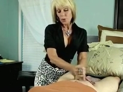 Big breasted massage therapist gives me a special foot massage