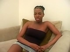 Black hotty mistreats cock
