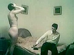 Short-haired Romanian chick has sex