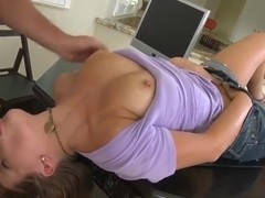Young and beautiful girl with flawless pussy sucks and rides for the first time on the camera