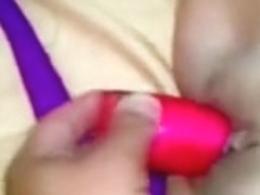 Wife acquire screwed with her big dildo during the time that sucking 10-Pounder