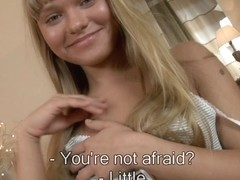 Seducing golden-haired playing sexual adult games with hard pecker