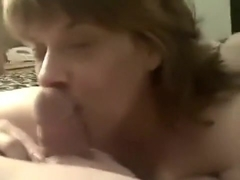 non-professional aged wife sucks pecker and receives cock juice on her face