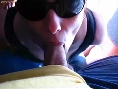 Italian wife with shades sucks and swallows
