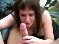 Giant titted wife gives a head and takes a facial