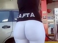 Spied butt at gas station