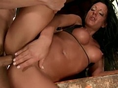 Cock sucking Destiny gets banged in threesome