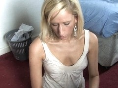 Blonde provides a great down blouse small tits view