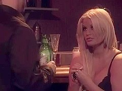 Chubby blonde acquires sex in bar