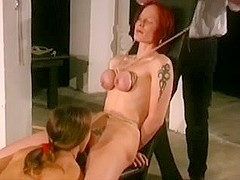 bdsm tits play for 2 slaves