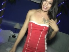 Ladyboy Kita in Red Dress Top and Butt Plug...