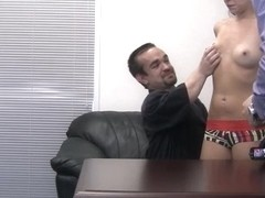 Amateur bitches being fucked hard on their first porn casting