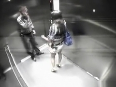 Couple getting stuck in an elevator pass time with sex