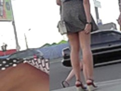 Two pretty ladies expose lingerie in upskirt video