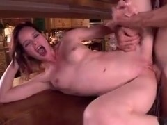 Girl gets sex in kitchen