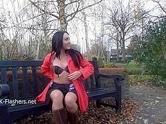 Dark mysterious Chloe Lovettes public nudity and outdoor masturbation of fit exhibitionist flashin.