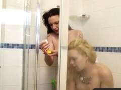 Girls Out West - Two lesbians playing in the shower