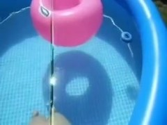 Blonde wife sucking my dick in pool