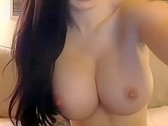 Brunette with Big boobs and fat pussy plays with dildo
