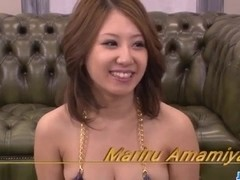 Threesome experience for hot babe, Mariru Amamiya