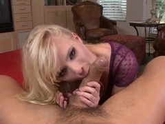 Slim blonde Elaina Rae wraps her lips around a beefy package