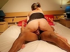 Blonde wife riding my black dick