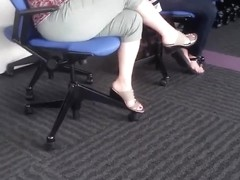 Woman's feet at work
