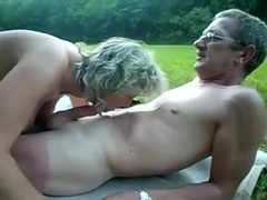Mature couple outdoor internal cum