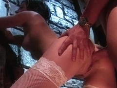 Hot raven Claudia gags on a big dick in dungeon