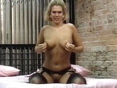 Sexy youthful blond bows over and shows off her constricted wet crack for the camera