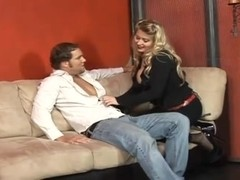 Busty Blonde Fucks A Guys With A Strapon