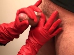 red gloved cock massage