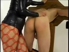 Mistress fooling around with her male sex toy