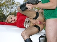 Golden-Haired fucked for 200 bucks on the street