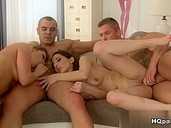 Tony, Sabby, Angel Black, Jimena Lago in Play and lick Scene