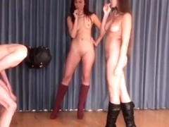 Two nude mistresses ballbusting