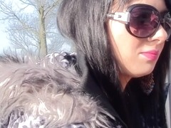 Ella in outdoors amateur video with a chick sucking dick