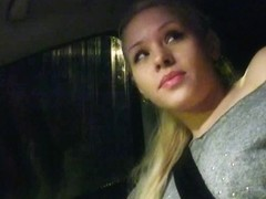 Amateur hitchhiking blonde sucks cock to get home